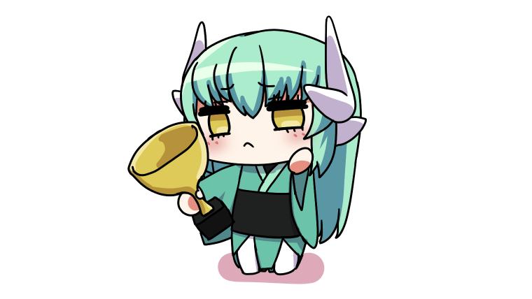 トロフィーを持つ清姫