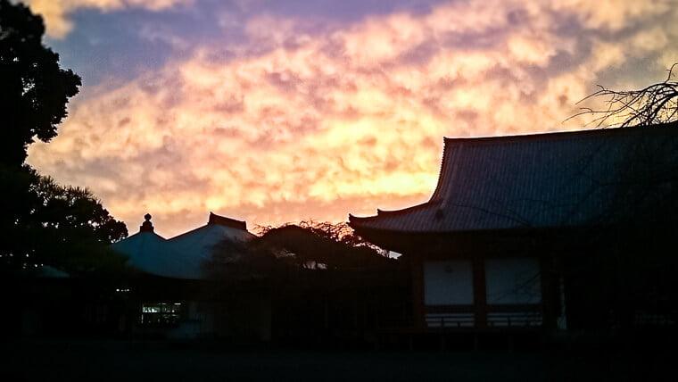 澄姫が初めて道成寺を訪れた時の夕焼け
