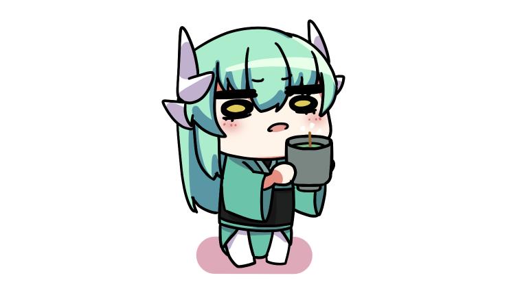 茶柱を眺める清姫