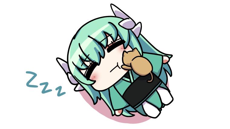 寝てる清姫に乗る猫